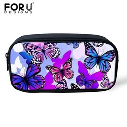 small pens UK - wholesale Makeup Bag Small Travel Portable Makeup Bag Toiletry Kits Butterfly Printed Kids Pencil Bags Pen Pouch For Teen Girl