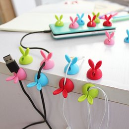 Wire Cable Organizer Canada - 4pcs Winder Wrap Cord Cable Storage Desk Set Rabbit Shaped Wire Clip Organizer Space Saving Desk Accessories Office Supplies