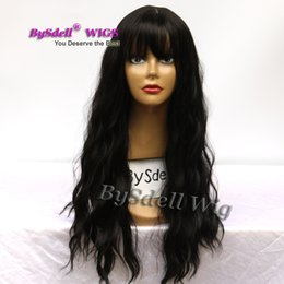$enCountryForm.capitalKeyWord Australia - pretty sexy layered cut air fringe style saclp wig synthetic long water curly hair black brown 4# color wigs for woman