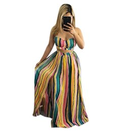 $enCountryForm.capitalKeyWord Canada - Two Piece Set 2018 Striped Split Casual Long Skirt Two-piece Woman Set Women Holiday Summer Dress Fit And Flare Elegant Dresses