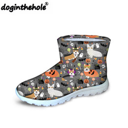 Boots For Dogs Australia - doginthehole Dogs Halloween Printing Shoes Women Winter Snow Boots Ladies Slip-on Ankle Boots for Females Fashion Warm Flat Boot
