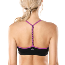 Discount t back bras - Women's Light Support Braided T-Back Yoga Sports Bra
