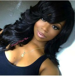 Wigs Bang Density Australia - Virgin Hair Human Lace Front Wig side bang Brazilian Remy Human Curly wavy Hair Lace Wigs 180% density African Americans Natural Color
