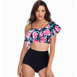 7e950c61b6 Ruffle High Waist Bikini Set Swimsuit Swimwear Women Print Two Piece Beach  Brazilian Tanga Push Up Swim Bathing Suit Bather Pool
