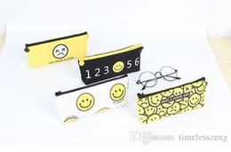 Simple School pen online shopping - High quality student pen bag simple fashion school pencil case canvas smiling face pencil bag gift style