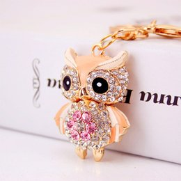 $enCountryForm.capitalKeyWord Australia - Owl Keychains Keyring Crystal Rhinestone Women Holder Bag Charm Keyring Keychain Key Chains Ring Jewelry Wedding Favor 5 Colors