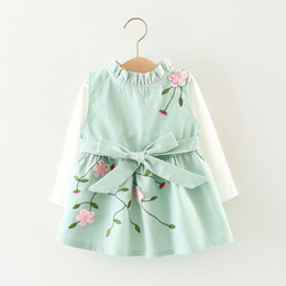 floral print knee length tops Australia - Autumn Baby Girls Cotton Long Sleeve T-shirt Tops + Floral Bow Cute Sundress Kids Infant 2Pcs Dresses vestidos roupas de bebe