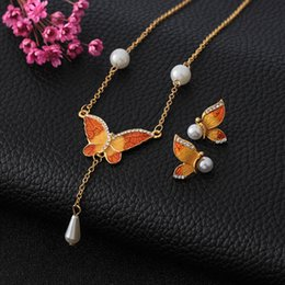EnamEl buttErfly jEwElry online shopping - Colorful Butterfly Jewelry Sets Enamel Insect Animal Pendant Necklace Earrings For Women Wedding Bridal Jewelry Sets Party Jewelry Set