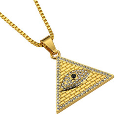 gold horus pendant UK - Fashion Men Hip Hop Jewelry Pendant Necklaces Eye of Horus Pyramid Punk Rock Rap 18k Gold Plated 60cm Long Chain
