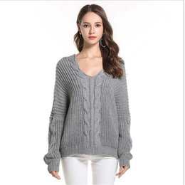 4c226d3e15 European Style 2018New Autumn Winter Loose Women Sweater Knitted Pullovers  Female Sexy V-Neck Long Sleeve Thicken Sweater CQ2195