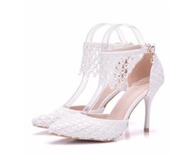 Flowered Evening Shoes UK - Lady Sandals Lace Wedding Shoes Evening Party Dress Pumps Bridal High Heels Woman Flower Tassel Fringe Shoes