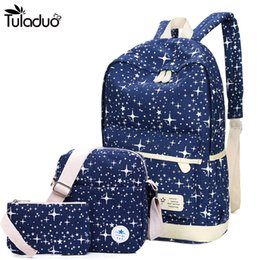preppy style backpack NZ - 2018 New Preppy Style Canvas Backpack School Bags For Teenagers Girl Student Bookbags Rucksack Cute Stars Printing Children Set Y18110202