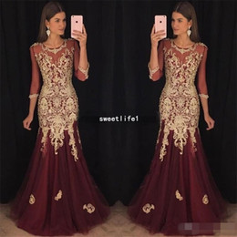 Illusion half Sleeves 2018 Burgundy Tulle Evening Dresses with Gold Lace  Appliques Sexy Mermaid Prom Dress Party Gowns c294f53ad187