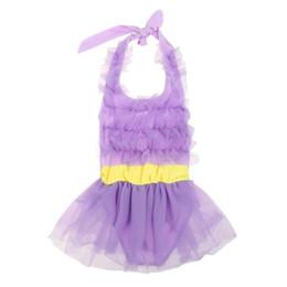 Wholesale 4-6Y Sweet Lace Girl Swimsuit Summer Beach One Piece Swimwear Kids Girls Bathing Suit Gauze Sunsuit Pink Purple