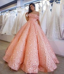 flower ball navy 2019 - Pink Full Petals Prom Dresses Sexy Off The Shoulder Fluffy Ruched Evening Gowns Saudi Arabic Floor Length Women Formal P