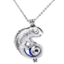 lizard pendants NZ - Silver Big Animal Lizard Hollow Oil Diffuser Locket Women Aromatherapy Beads Pearl Oyster Cage Necklace Pendant-Boutique gift