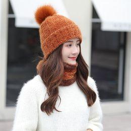 25f71206c Orange knit hats online shopping - 2018 New Winter Warm Women Chenille Hat  Scarf Sets Lady