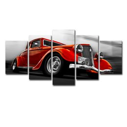 Framing Canvas Prints Australia - Art Canvas Printed Painting Frame Pictures Home Decor For Living Room 5 Pieces Orange Red Retro Car Modular Posters