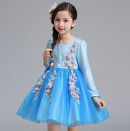 $enCountryForm.capitalKeyWord Australia - 2018 Flower Girls Dresses for Weddings custom Blue Organza Kids ball gown Evening Dresses 3D Appliques Holy Communion Dresses