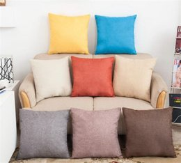Discount linen gold - Solid Color Pillow Covers Cushions Cover Linen Fashion Office Sofa Chair Home car Pillowcase G345