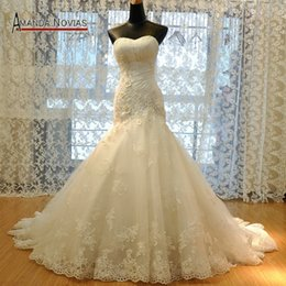 $enCountryForm.capitalKeyWord NZ - Luxury Elegant White lace Strapless mermaid Wedding Gown Dress Beaded Flower Plus Size Wedding Dresses Lace up Embroidery Flower Sash W43