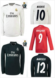 4408ac2b4dc newest 2018 2019 Real Madrid Long sleeve soccer jersey 18 19 BENZEMA ISCO  BALE ASENSIO MODRIC away third red Champions League football shirt