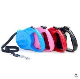 Nylon Dog Collar Wholesale UK - 3M 5M Retractable Nylon Dog Leash Lead Pets Cats Puppy Leash Lead Automatic Retractable Dog Collars Walking Lead for Small and Medium Pet