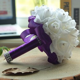 Cheap Crystal wedding bouquets online shopping - Cheap Foam Rose Bridal Wedding Bouquet Wedding Decoration Crystals Artificial Flower Bridesmaid Bridal Hand Holding Brooch Flowers CPA1580