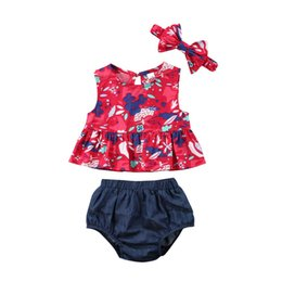 boys ruffle top UK - 3PCS Set Newborn Baby Girl Clothes Floral Ruffle Tops Vest Denim Short Pants 3Pcs Outfits
