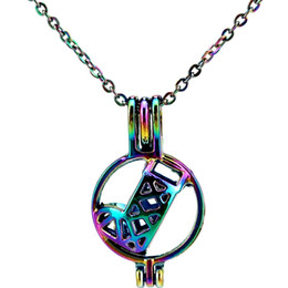 $enCountryForm.capitalKeyWord Australia - C407 Rainbow Color Christmas Sock Kids Party Beads Cage Pendant Essential Oil Diffuser Aromatherapy Pearl Cage Locket Pendant Necklace