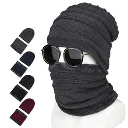 Wholesale Winter men hats Korean style woollen hats warm knit winter cold proof cotton hats outdoor cycling neck covers