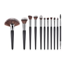 Hair Fans UK - 11pcs Makeup Brushes Set High Quality Wood Handle Synthetic Hair Eyeshadow Eyebrow Brush Large Fan Brush For Makeup Artist