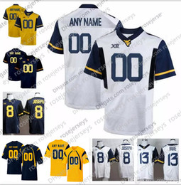 0962b3ba0 Customized Elite WVU College Football Vintage Game Worn Jersey White navy  blue yellow Any Name Number West Virginia Mountaineers McKoy Grier