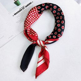 head girl clothing 2019 - LEAYH Women Square Silk Scarf 70*70cm Printed Dot Stripe Spring Autumn Head Scarves Neckerchief Clothing Accessories Gif