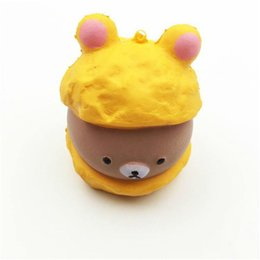 Chinese  Kawaii Cute Squishy Rilakkuma Cap Panda Bear Cartoon Super Slow Rising Phone Strap Pendant Bread Cake Kid Toy Gift manufacturers