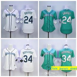 b4d7fc3bb 2019 hot slae cheap women's Se Mariners Felix Hernandez 24 Ken Griffey Jr.  100% Stitched baseball jerseys