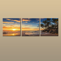 Sunset Seascape Paintings Australia - Framed Unframed Hot Modern Contemporary Canvas Wall Art Print Painting Beach Sunset Seascape Picture 3 piece Living Room Home Decor ABC264
