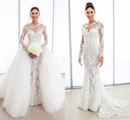 09591d582 Precioso encaje sirena vestidos de novia con tul abullonado Overskirt  Illusion manga larga vestidos de novia por encargo