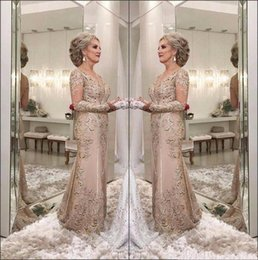 15072890d5 2018 Elegant Mermaid Mother Of The Bride Dresses V Neck Sheer Long Sleeves  Lace Appliques Beaded Party Evening Gowns Wedding Guest Dress