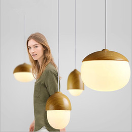 mushroom pendant light 2019 - Narrandes wood glass Pendant Lights Nordic nuts mushrooms modern simple personality creative imitation wooden Pendant la