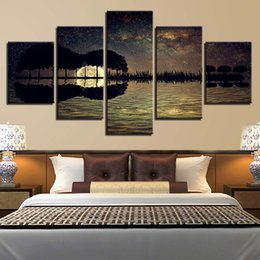 guitar canvas art UK - HD Home Decoration Room Poster 5 Panel Guitar Music Seaview Wall Art Pictures Printed Abstract Cuadros Painting Canvas Frame