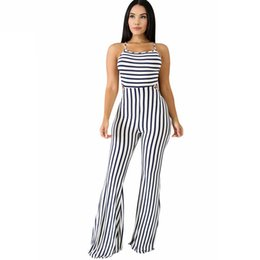 9bb5f121aa05 Black White Striped Sexy Flare Jumpsuit Women Spaghetti Strap Sleeveless Long  Romper Summer Backless One Piece Overall