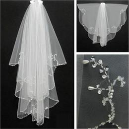 $enCountryForm.capitalKeyWord Australia - In Stock Two Layers Beaded Edge Short Bridal Veils Custom Made Elegant Wedding Veils Charming Bridal Accessories Head Veils