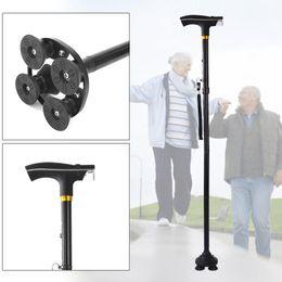 Discount adjustable walking poles - Walking Stick LED Light Canes Trekking Trail Hiking Poles Old Man Ultralight Folding Protector Adjustable T Handlebar El
