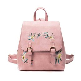 $enCountryForm.capitalKeyWord NZ - New Tide Women PU Fashion Embroidery Printing Solid Color Bag Brand Designer Backpack High Quality Adjustable Shoulder Strap