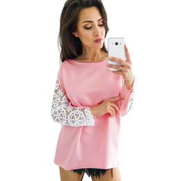 Lace Splice T Shirt Australia - Women Crochet Lace Splicing T-shirt Sheer Floral Dropped Shoulders Hollow Out Tee Shirt Femme Long Sleeve Casual Autumn Tops