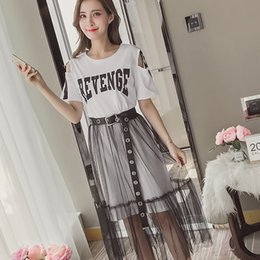 Female Dresses NZ - Sexy Off Shoulder Summer Dress Female Casual Loose 2 PCS Set Harajuku Letters Print Dresses With Belt For Women