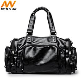 Man Leather Travel Bags NZ - Solid Black Leather Man Handbag With Front Pocket Side Pocket Fashion Men Travel Bag For short Journey Casual Male Travel Duffle