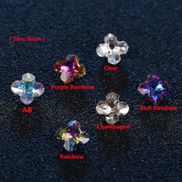 Discount k9 crystal quality - 100pcs K9 Quality 6mm Flower Shape Clear ab Crystal Rhinestone Pointback Glass Strass Rainbow Rhinestones for Nails Dres