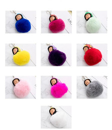 Discount cool toys cars - Cool Fluffy Rabbit Fur Pompom Motorcycle helmet Sleeping Baby Key Chain Women Rex Bunny Fur Doll Keychain Car Keyring To